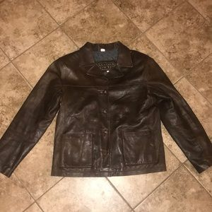 Leather Limited Brown Leather Coat Size M